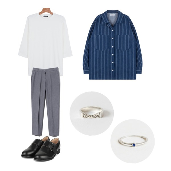 Reine Monday Straight Basic Slacks,AIN modern lanvin loafer (2 colors),daily monday Daily color 7-tee등을 매치한 코디