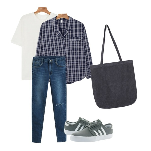 TODAY ME [skinny]로엘 스키니진,daily monday V-neck vintage check shirts,daily monday Basic layered color tee등을 매치한 코디