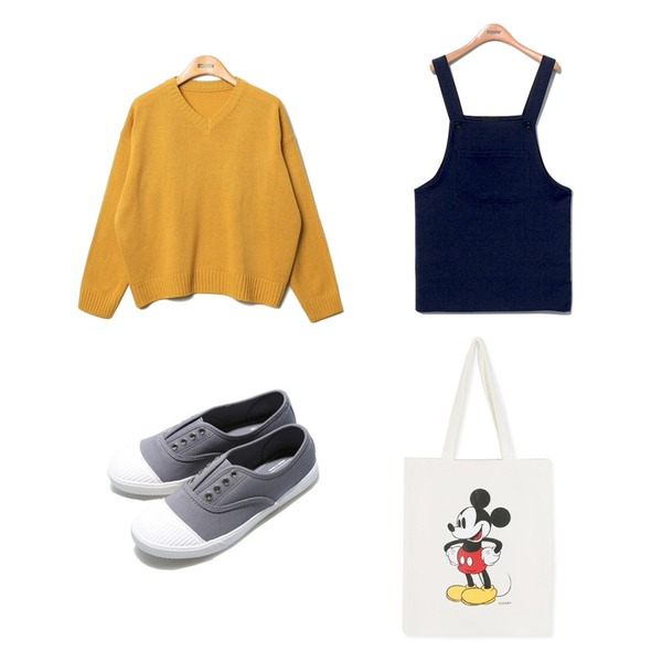 daily monday Disney micky eco bag,Reine Something Overall Onepiece,Reine Marni V-Neck Knit등을 매치한 코디