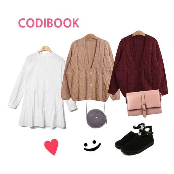 1,Reine Purity Shirring Collar Onepiece ,TODAY ME [cardigan]미우 가디건등을 매치한 코디