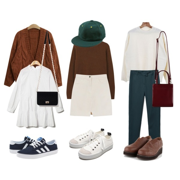daily monday Lambs wool color knit10/12 입고예정,Reine Purity Shirring Collar Onepiece ,TODAY ME [cardigan]미우 가디건등을 매치한 코디