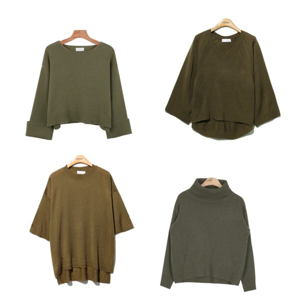 Reine Real V-Neck Knit Tee ,AIN isabel full turtleneck sweater (3 colors),daily monday Roll up wool knit등을 매치한 코디