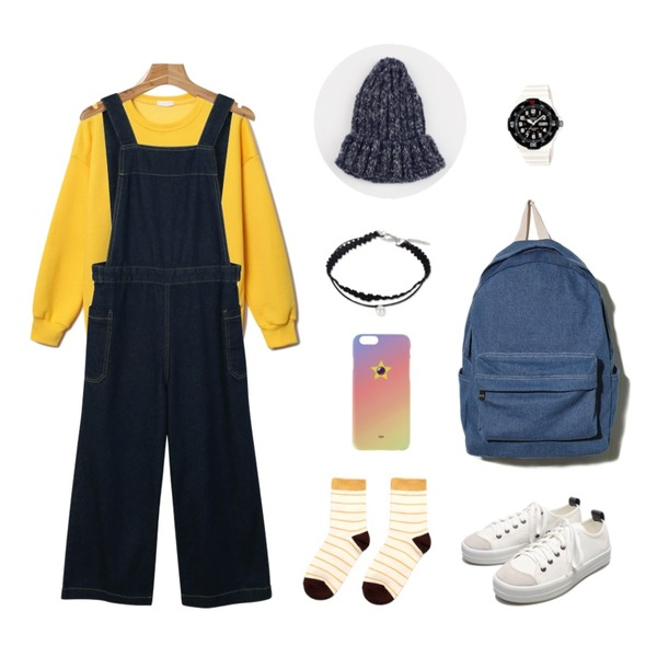 daily monday Button wide overalls,Reine Mable Point-Color Socks,Reine Edition Vivid-Color Sweat Shirts등을 매치한 코디