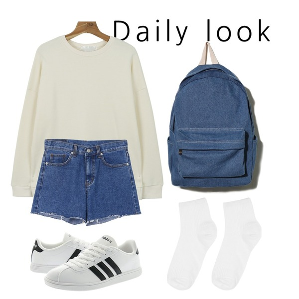 daily look,daily monday A-line cutting denim short,daily monday For all man to man등을 매치한 코디
