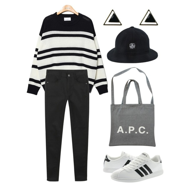 Player 아디다스 VL 네오 코트 15 흰검 (VLNEO COURT 15 WHT/BLK/WHT),daily monday Black white skinny,Reine Page Stripe Knit Tee  등을 매치한 코디