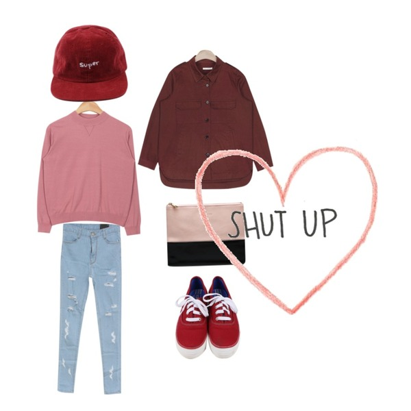 MIND ME 컷팅 데님 하이웨스트팬츠,daily monday All day basic sneakers,AIN soft touch easy knit (6 colors)등을 매치한 코디