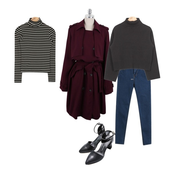 Reine Horse Strap Heel,daily monday Modern mood trench jacket,AIN tight simple stripe T (2 colors)등을 매치한 코디