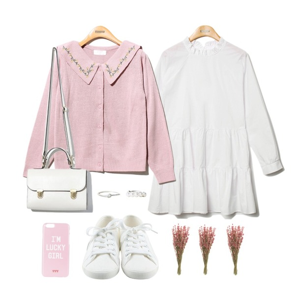 daily monday Basic tennis shoes,Reine Story Flower Cardigan,Reine Purity Shirring Collar Onepiece 등을 매치한 코디