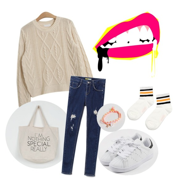 daily monday Linen special bag,daily monday Round cushion sneakers,TODAY ME [knit]브리즈 니트등을 매치한 코디