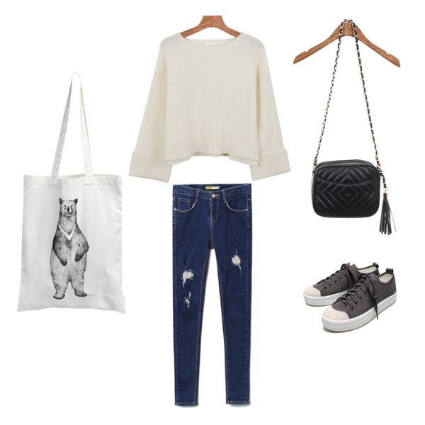 MIXXMIX MUSE IS YOU일러스트 에코백_곰,Reine Run&Run Neat Sneakers,daily monday Roll up wool knit등을 매치한 코디
