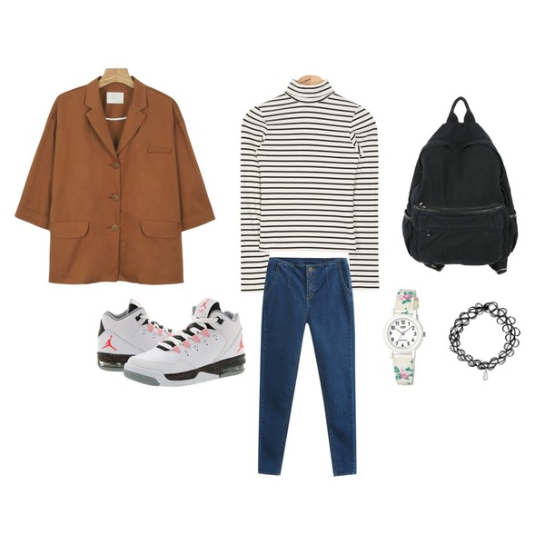 daily monday Modern boxy jacket,TODAY ME [skinny]스팅 스키니진,AIN tight simple turtle-neck stripe T (2 colors)등을 매치한 코디