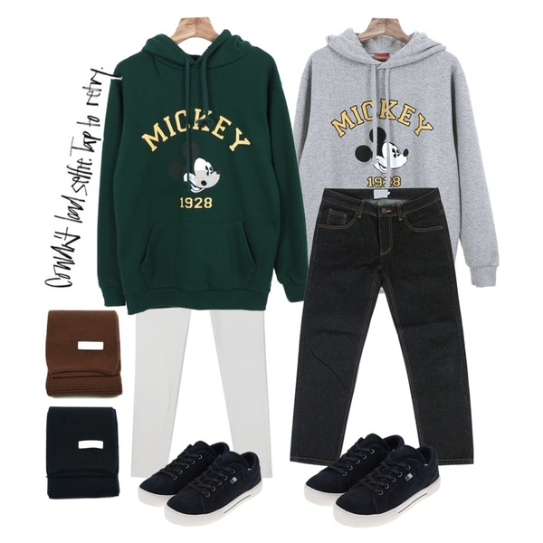 Zemma World (DISNEY) 캐주얼미키 (hood),Zemma World (DISNEY) 캐주얼미키 (hood),AIN daily color pitch-cotton skinny (8 colors)등을 매치한 코디
