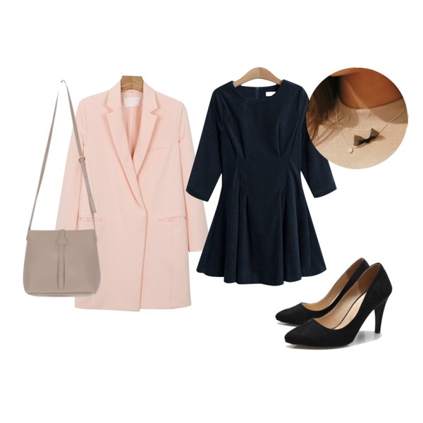 daily monday Slim pocket long jacket,Reine French The Motive Heel,TODAY ME [dress]쥬리나 원피스등을 매치한 코디
