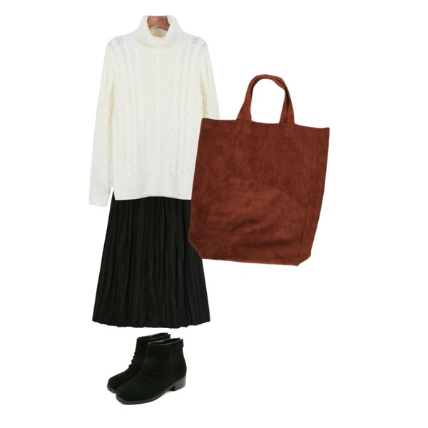 daily monday Loose turtleneck knit,daily monday Wrinkle ankle shoes,DORA 쎄무아코디언SK등을 매치한 코디
