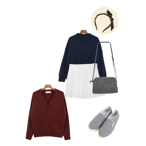 Reine Ribbon Leather Headband ,daily monday Angora Lambswool cardigan,Zemma World [피팅슈즈]몽글몽글 (shoes)_블랙(235)등을 매치한 코디
