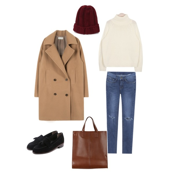 MIXXMIX MD 추천상품1787 슬림일자 팬츠,daily monday Suede cozy tassle loafer,AIN urban winter cosy pola knit (3 colors)등을 매치한 코디