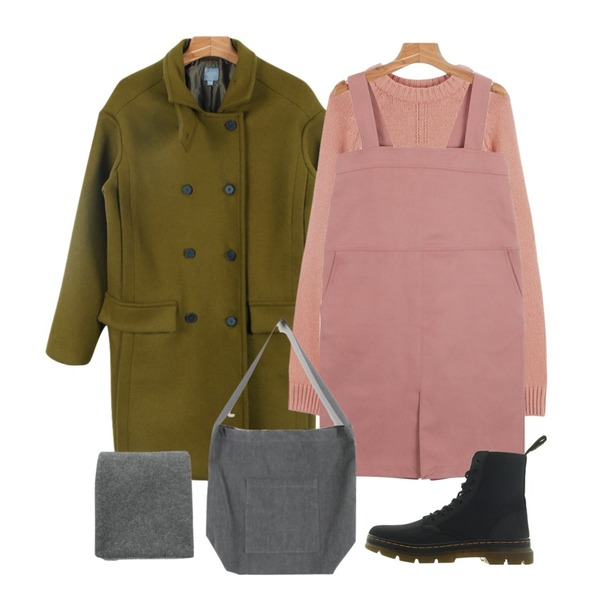 daily monday Cotton square overall one-piece,daily monday Double tom coat,daily monday Raglan pastel knit등을 매치한 코디