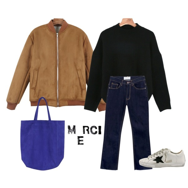 daily monday Natural silm straigt denim,daily monday Soft basic knit,daily monday Suede mustang jumper등을 매치한 코디