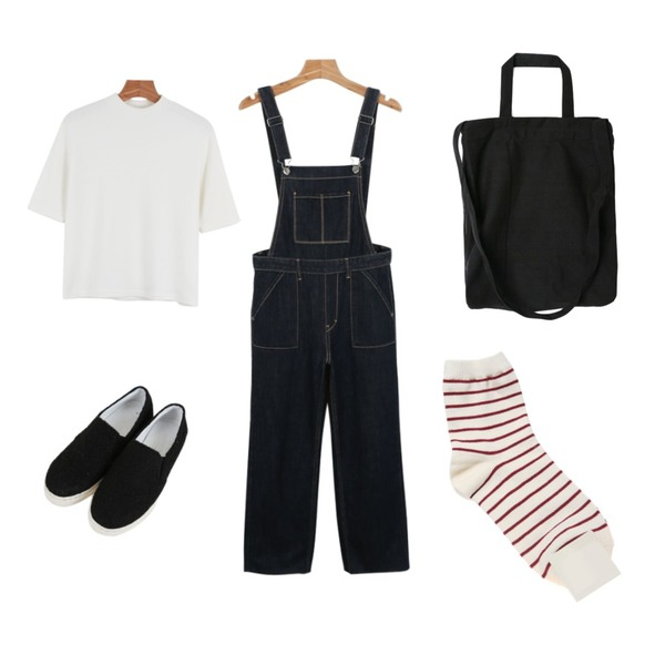 daily monday Wide cutting Denim overalls,daily monday Half neck sleeve tee,Zemma World [피팅슈즈]몽글몽글 (shoes)_블랙(235)등을 매치한 코디