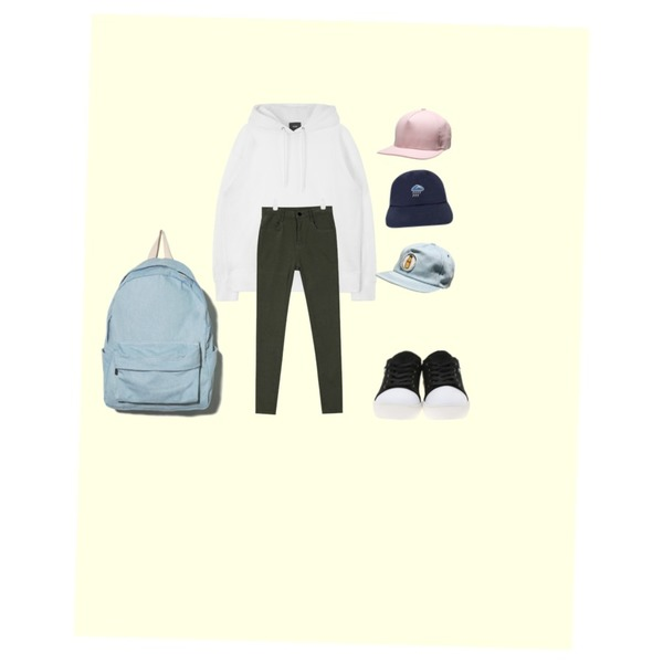 Yellow,AIN daily color pitch-cotton skinny (8 colors),MIXXMIX MXM 15FWPolaroid Hoody (White)등을 매치한 코디