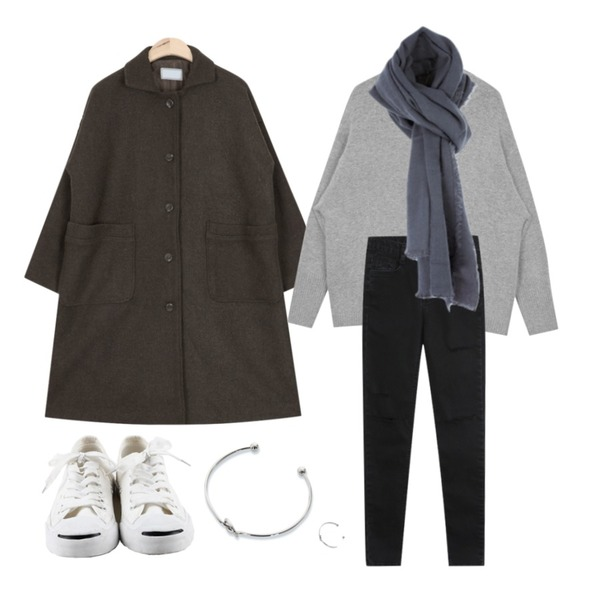"Zemma World UNION (팔찌/반지set),AIN angora soft touch knit (3 colors) ""weekly 20% item"",AIN casual single wool coat (3 colors)등을 매치한 코디"