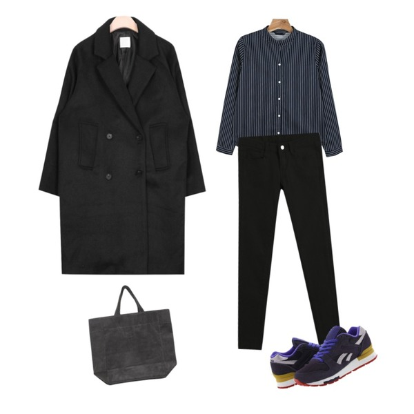 daily monday V-neck stripe shirts,AIN heat tomboy feminine wool coat (2 colors),TODAY ME [skinny]톰 컬러 스키니진등을 매치한 코디