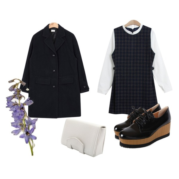 biznshoe Platform wood loafer,TODAY ME [dress]로건 체크 원피스,AIN apc button sleeve coat (3 colors)등을 매치한 코디