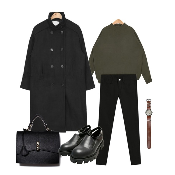 AIN over-fit wool trench coat (3 colors),TODAY ME [skinny]톰 컬러 스키니진,AIN bold-neck color basic knit (7 colors)등을 매치한 코디