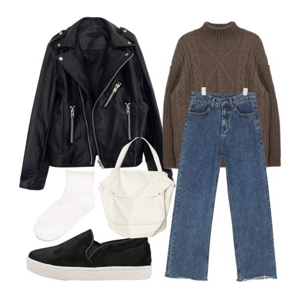 WEAR YOU rider jk,AIN loose-fit straight denim pants,MIXXMIX 세라프 하프넥 니트등을 매치한 코디