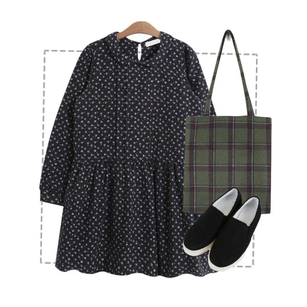 Untitled,daily monday Wool winter bag,TODAY ME [dress]이누 플라워 원피스등을 매치한 코디