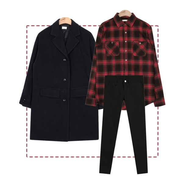 Untitled,AIN warm touch check shirt (3 colors),AIN apc button sleeve coat (3 colors)등을 매치한 코디