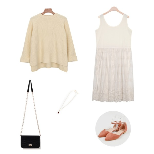Zemma World LOVETONKKA (목걸이),daily monday Wide sleeve spring knit,AIN lace layered lapping ops (2 colors)등을 매치한 코디