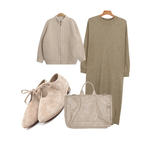daily monday Philip long slit one-piece,TODAY ME [cardigan]모띠 지퍼 가디건,AIN round suede ribbon shoes (4 colors)등을 매치한 코디