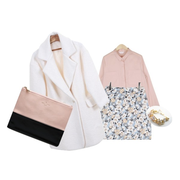 AIN spring flower pattern skirt (2 colors),AIN two pocket simple blouse (4 colors),Zemma World 블리스-코트 (울60%)등을 매치한 코디