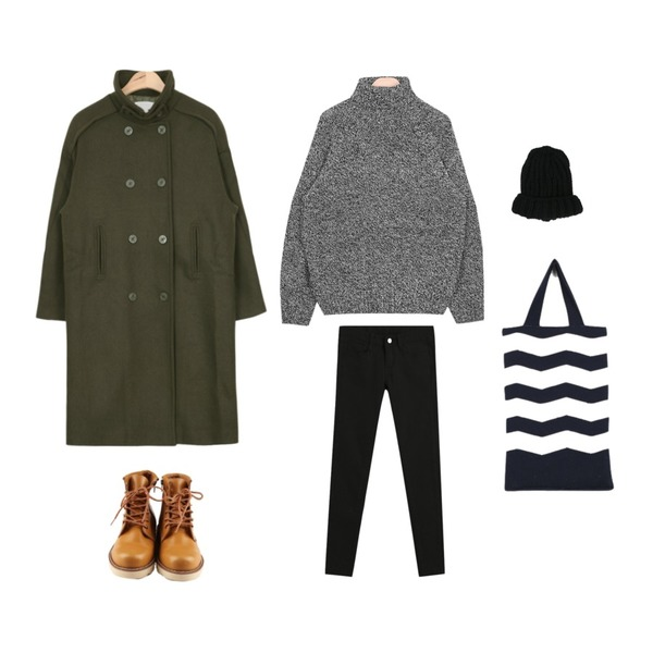 AIN urban winter cosy pola knit (3 colors),AIN over-fit wool trench coat (3 colors),TODAY ME [skinny]톰 컬러 스키니진등을 매치한 코디