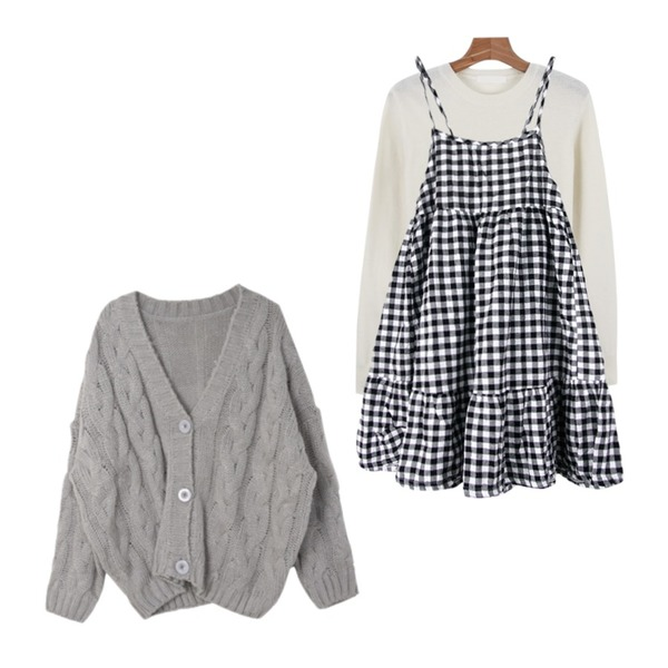WEAR YOU check ops,DORA 오버꽈배기CD,daily monday Wool simple knit등을 매치한 코디