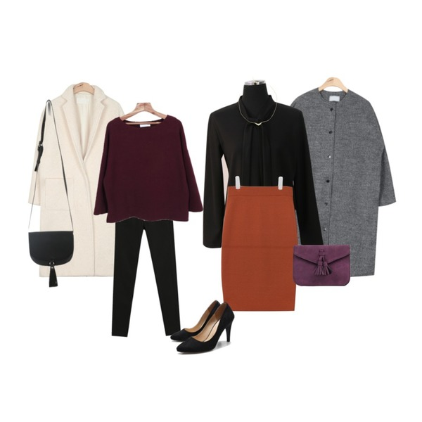 AIN round-neck terry snap coat (2 clors),AIN pure boucle long coat (3 colors) ,TODAY ME [skinny]톰 컬러 스키니진등을 매치한 코디
