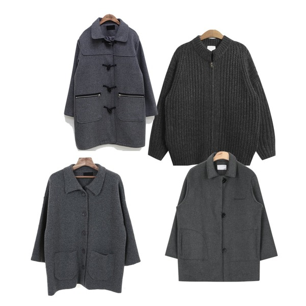 common unique [OUTER] ZIPPER DUFFLE COAT,Zemma World 블루마운틴 (knit ct),TODAY ME [cardigan]모띠 지퍼 가디건등을 매치한 코디