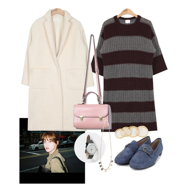 daily monday Simple modern watch,머리,AIN bulky stripe long knit ops (2 colors) 등을 매치한 코디