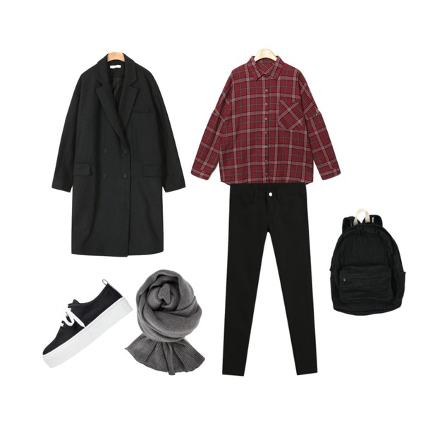 Reine Modern Vintage Check Shirts,common unique [OUTER] DOUBLE LONG COAT,TODAY ME [skinny]톰 컬러 스키니진등을 매치한 코디