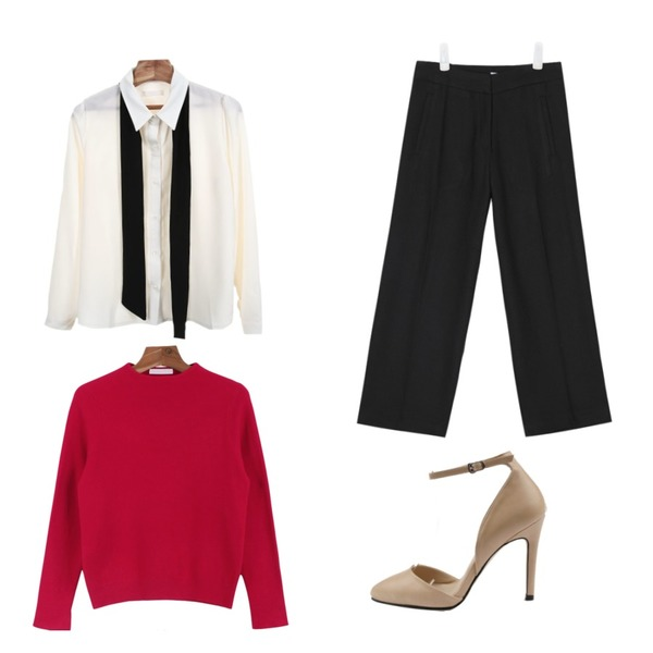 daily monday Sleeve slit knit,Zemma World 오피스 (bl),AIN mono 9 wide slacks (3 colors)등을 매치한 코디