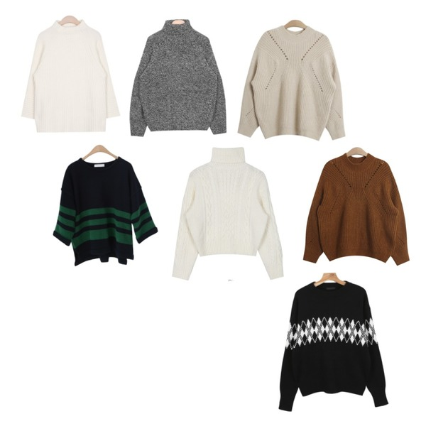 TODAY ME [knit]글로미 니트,AIN urban winter cosy pola knit (3 colors),AIN wide sleeve detail knit (3 colors)등을 매치한 코디