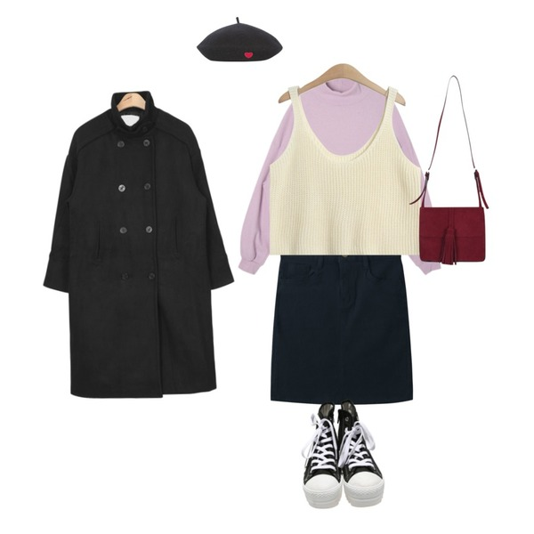 DORA 포포반폴라니트,AIN over-fit wool trench coat (3 colors),TODAY ME [skirt]라일 스커트등을 매치한 코디