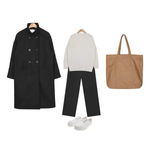 AIN over-fit wool trench coat (3 colors),AIN comfortable 8-basic slacks (3 colors),AIN rolled colorful angora knit (5 colors)등을 매치한 코디