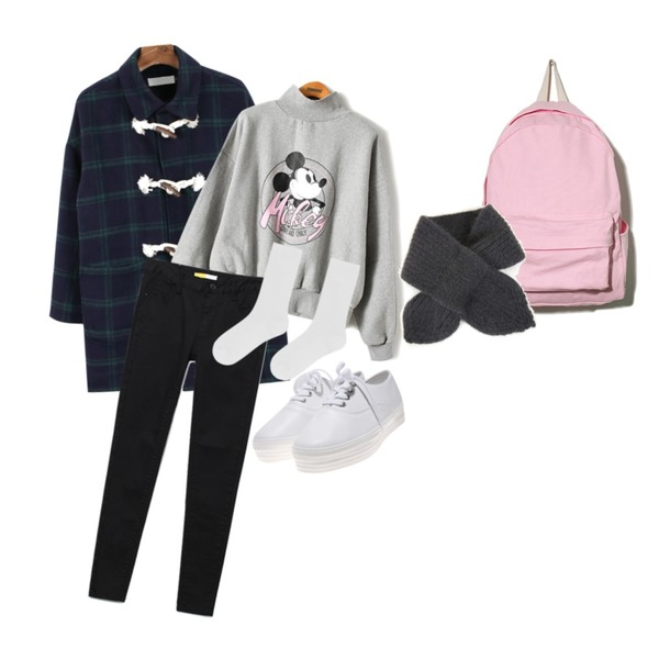 Reine Erasure Cotton Skinny   ,daily monday Check vintage duffle coat11/19 입고예정,Reine Mickey Half-Neck Sweat Shirts등을 매치한 코디