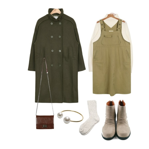 AIN urban winter cosy pola knit (3 colors),AIN over-fit wool trench coat (3 colors),daily monday Pocket cotton overall one-piece등을 매치한 코디