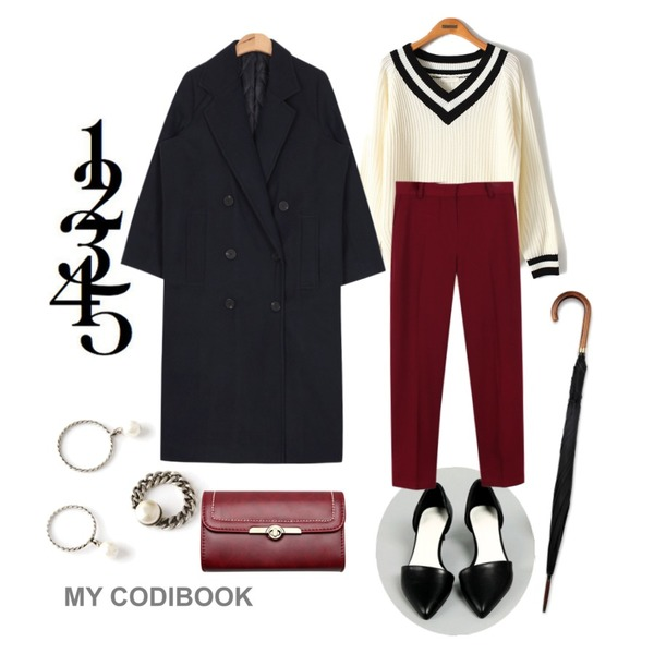 my codibook,common unique [SHOES] SLIM KITTEN HEEL,Reine Daily School V-Neck Knit등을 매치한 코디