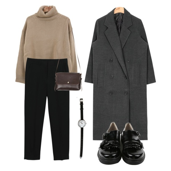 Zemma World 선인장 (knit),daily monday Slim round slacks,AIN straight collar long coat (4 colors)등을 매치한 코디
