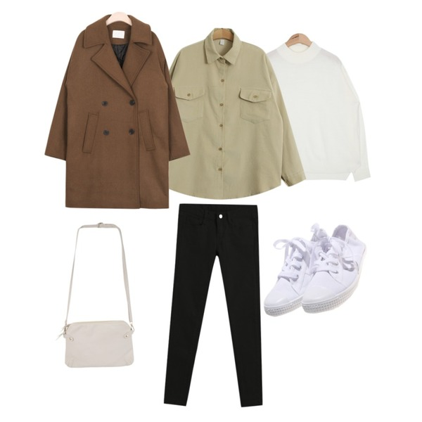 TODAY ME [shirt]테이 골덴 셔츠,AIN bold-neck color basic knit (7 colors),AIN muji boxy standard wool coat (3 colors)등을 매치한 코디