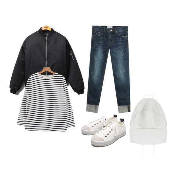 Reine The Mode Boy-Fit Jumper,daily monday Another winter stripe tee,TODAY ME [denim]프레이 데님 팬츠등을 매치한 코디